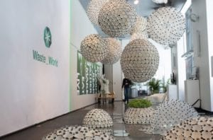 Globes made of cups hanging from ceiling