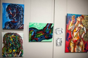Colorful abstract art on walls