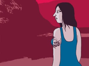 Animated graphic of woman with blue tank top gazing of red map.
