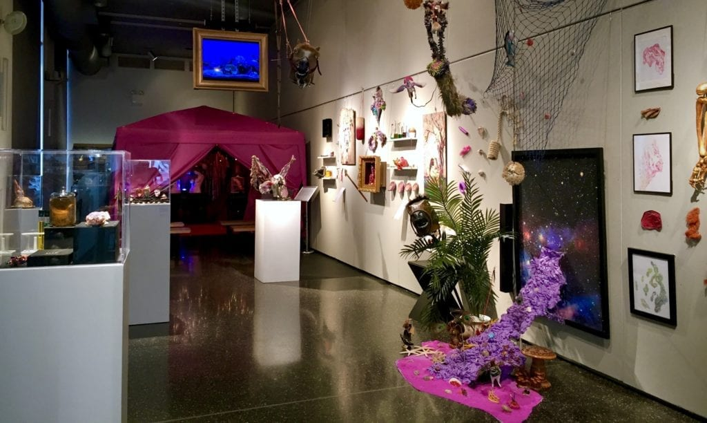 Gallery space made into a colorfully eccentric history exhibit