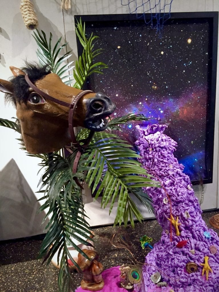 Hobby horse in front of a galaxy poster and purple slime