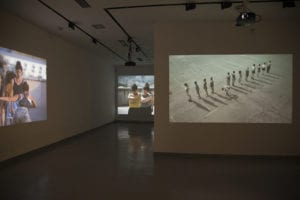 Videos from show projected on three different walls