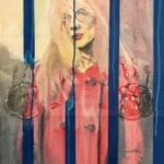 A young woman wears a red coat and stands behind blue jail cell bars. Two handprints are faintly over-layed over the image.