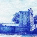 A blue and white drawing of a prison exterior.
