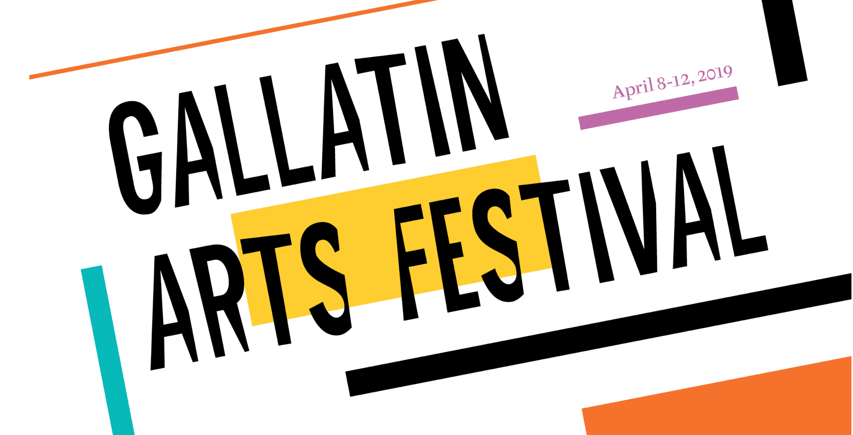 """A white background with various colored graphic boxes arranged on it, with """"Gallatin Arts Festival"""" in black stylized font on top."""