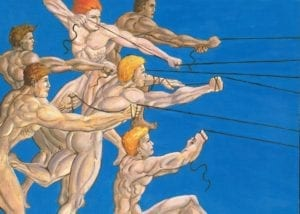A drawing of a group of naked men holding onto strings that go off the page, all against a sky blue background.