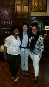 From Left: Nohelia Diplan NYU SSW 16', Site Director Anna Kazumi Stahl, Monika Estrada Guzman NYU SSW 16'