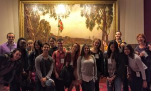 Environmental Journalism students visit NSW Parliament House - with Mark Eels (left) and Fran Molloy (right)