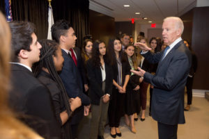 Vice President Joe Biden takes group photos with NYU students at the NYU Global Academic Center in Washington, D.C., Dec. 8, 2016. (Official White House Photo by David Lienemann)