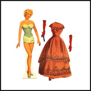 Recortable. Mujer con vestido y guantes.