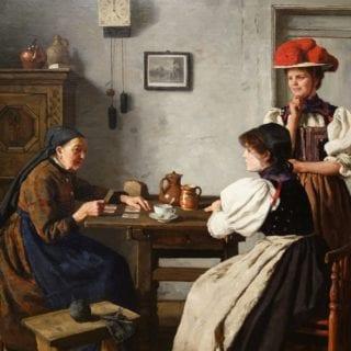 Pintura al Óleo. Una mujer lee el tarot a otras dos