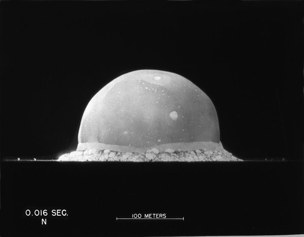 The Trinity test nuclear weapon 0.016 seconds after detonation
