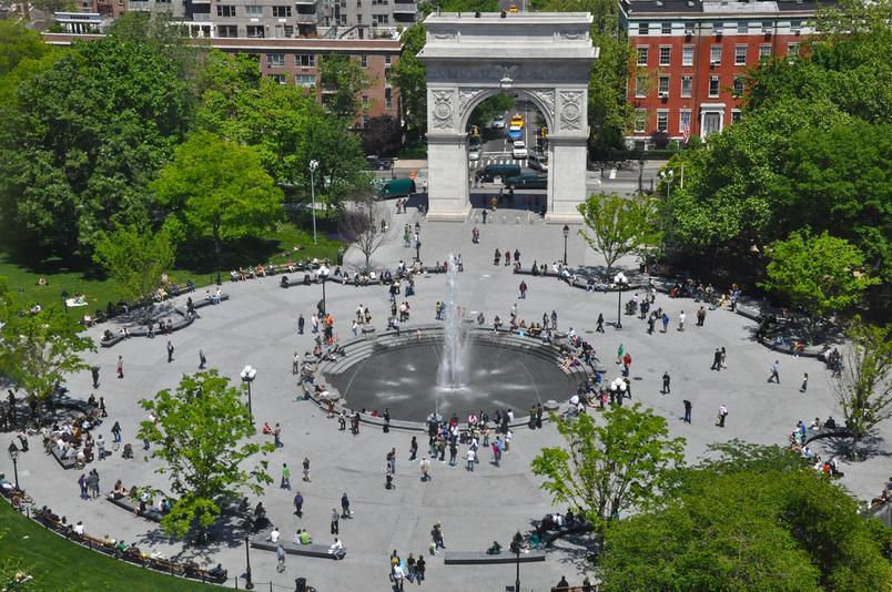 The Kimmel Center faces Washington Square Park