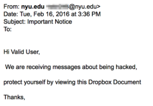 """Screendhot of an email dated 2/16/16 with a subject of """"Important Notice"""" with the following text """"Hi Valid User, We are receiving messages about being hacked, protect yourself by viewing this Document."""""""