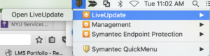 Screenshot showing LiveUpdate being opened from an icon on the Menu Bar.  Hovering over LiveUpdate presents the Open LiveUpdate option.  This option can be clicked to open LiveUpdate.