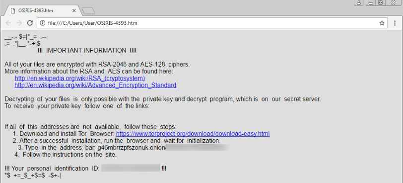 Screenshot of a ransomware message advising that all files have been encrypted with RSA-2048 and AES-128 ciphers. To receive a private decryption key, users are advised to follow a provided link.