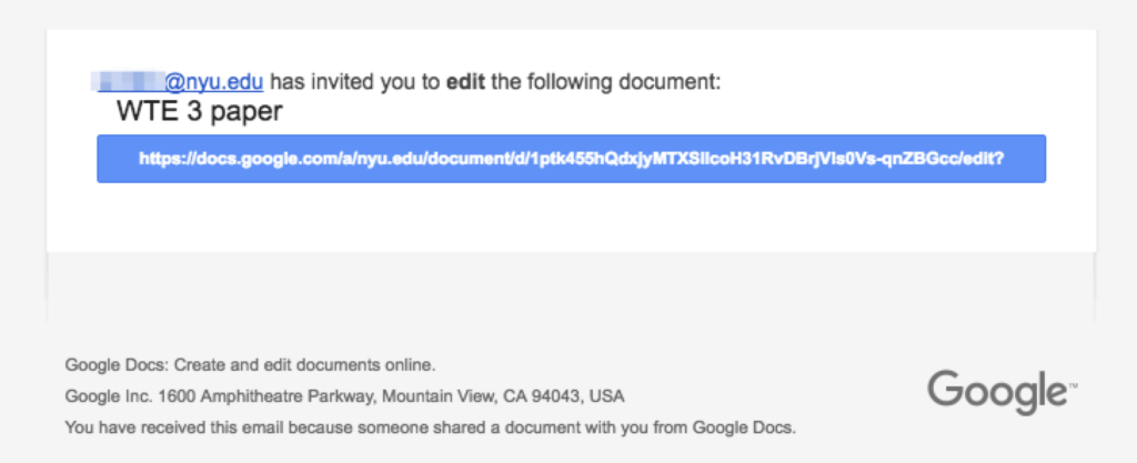 "Screenshot showing message purporting to be a dile sharing message from Google Docs saying [masked name] has invited you to edit the following document ""WTE 3 paper"" with a clickable link beneath the name."