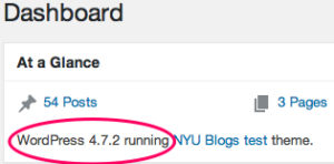 """Screenshot shows Dashboaard At a Glance view and encircled in red is the text """"WordPress 4.7.2 running"""""""