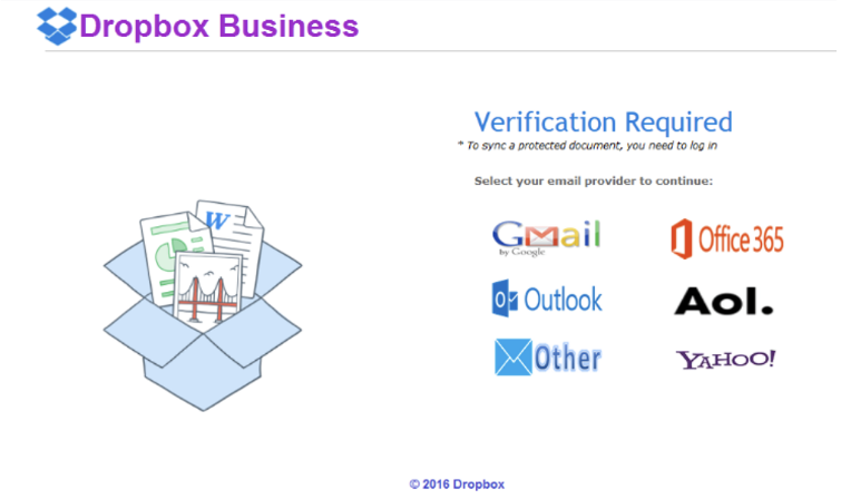 "Screenshot displaying a logo for ""Dropbox Business"" stating ""Verification Required"" and requesting the selection of your email provider and a login.  The list of providers includes Gmail, Outlook, Other, Office 365, AOL and Yahoo."