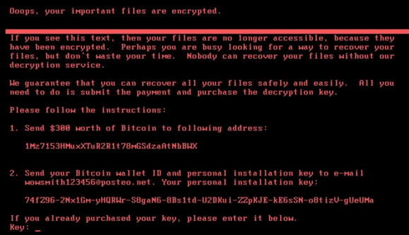 "Screenshot showing the ransomware message that appears once a user's files have been encrypteded. The message begins with the text ""Oops, your important files are encrypted"" and provides instructions for a payment of $380 worth of bitcoin."