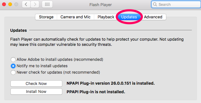 """Screenshot showing the """"Updates"""" tab which is available upon clicking """"Flash Player"""" on the Apple,System Preferences menu. Options on the Updates tab include """"Allow Adobe to install updates"""" or """"Notify me to Install Updates"""" or """"Never check for updates"""". It is recommended that users select either of the the first two options. The dialog also displays plug-in options which are detailed in the following paragraph."""