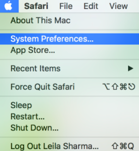 """Screenshot showing the """"System Preferences"""" option on the Apple menu."""