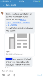 (linkedin messaging screen) Seems you have some haters on the NYU Community here is the article (fraudulent tinyURL link)