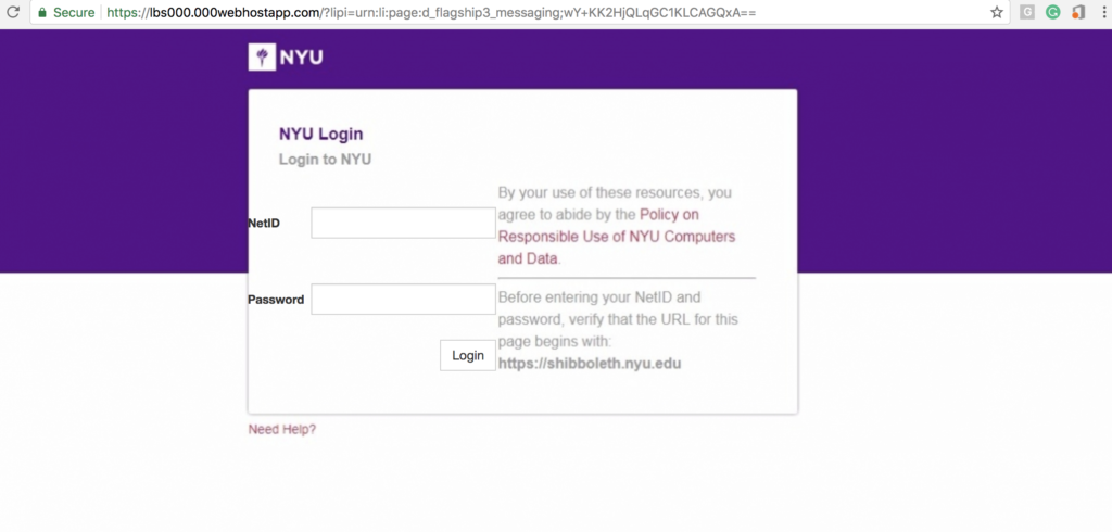 page which emulated NYU Login in order to trick people into giving away NYU username and password.