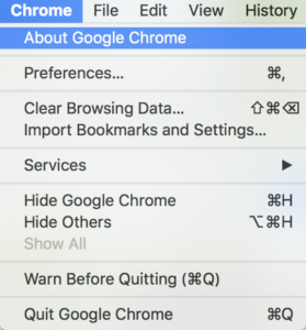 "Screenshots showing Google Chrome's menu options, with ""Chrome"", ""About Google Chrome"" selected"