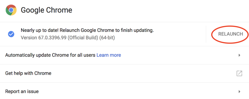 Screenshot showing the current Google Chrome version number and the relaunch option