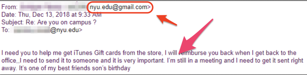 Screenshot of a phishing email message requesting urgent assistance in obtaining iTunes gift cards