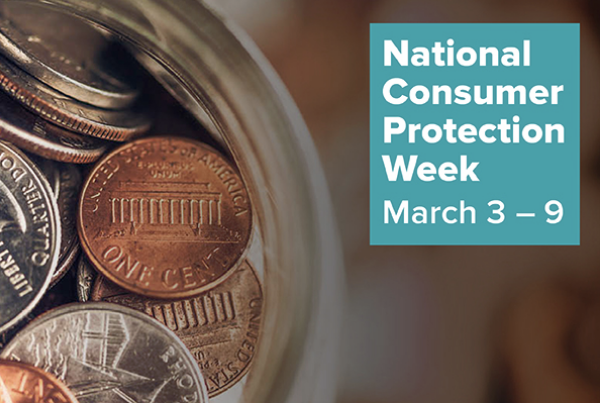 "Screenshot of a partial image of a coin jar with text on the right side reading ""National Consumer Protection week March 3 - 9"
