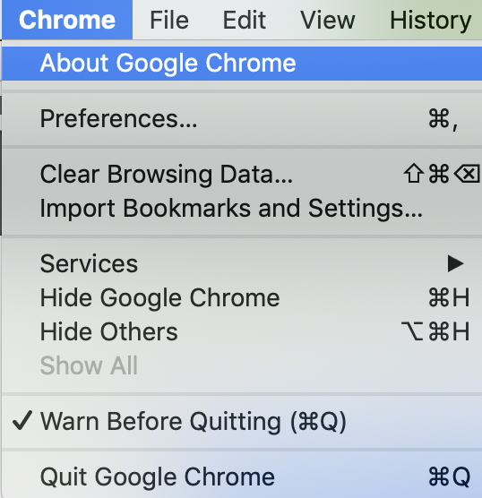 "Screenshot showing the Chrome Menu available when ""Chrome"" is clicked on the application menu bar"
