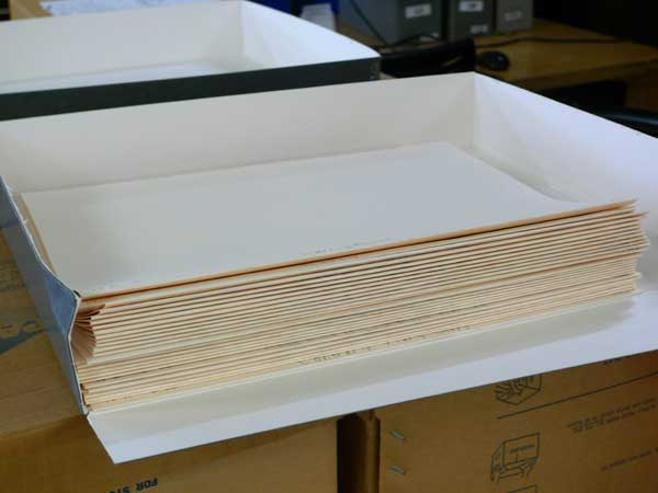 Folders from the Moloney Sheet Music collection are ready to be digitized