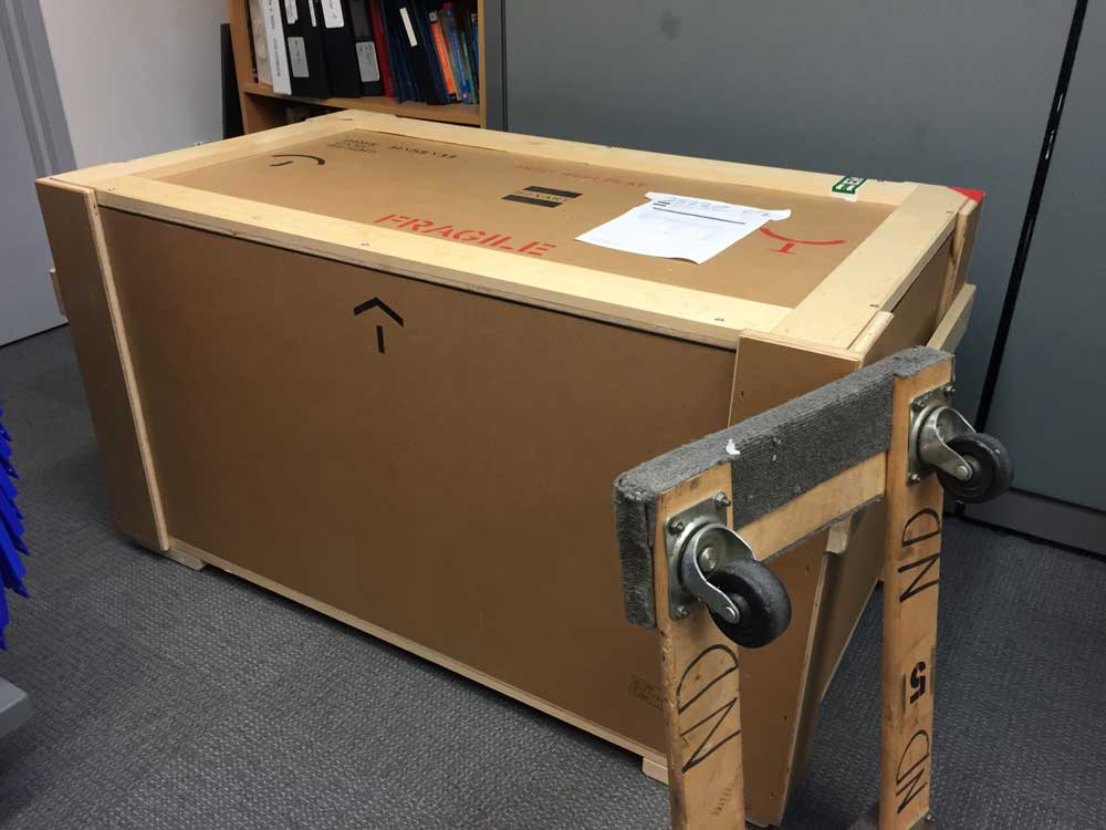 The camera is in its crate