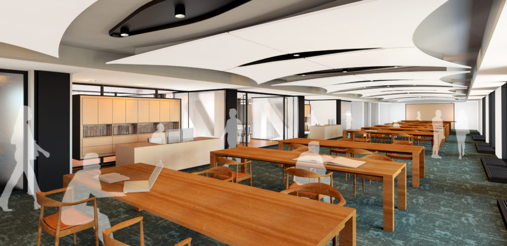 Photo: rendering of special collections renovated reading room space