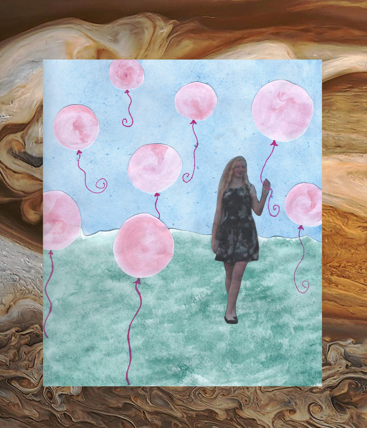 "A collage illustration for ""Jupiter's Pink Balloons,"" a poem that is both featured on my blog and that I recited at Coffee Cartel and In-House Arts."