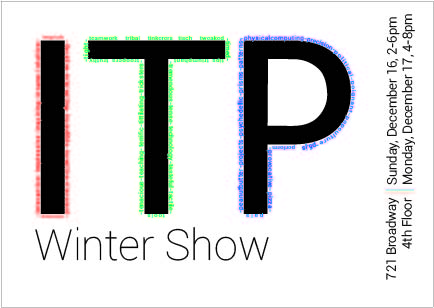 Visual Language Week 5: ITP Winter Show Postcard
