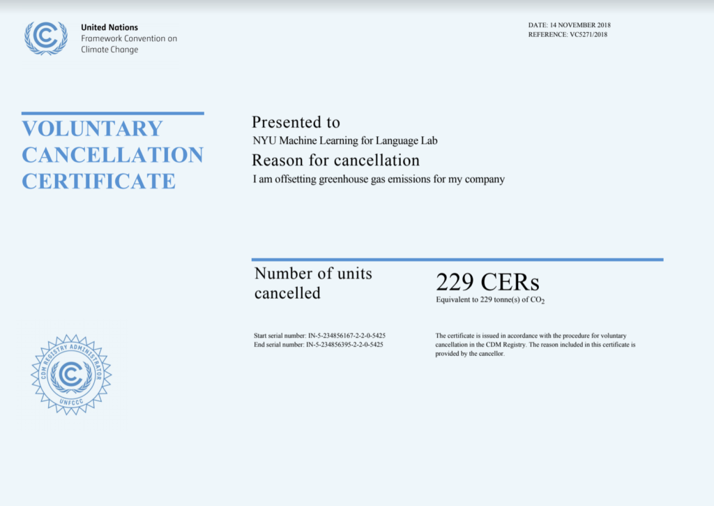UNFCCC Offset Certificate