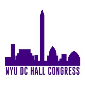 Washington DC Monuments outline over NYU DC Hall Congress text