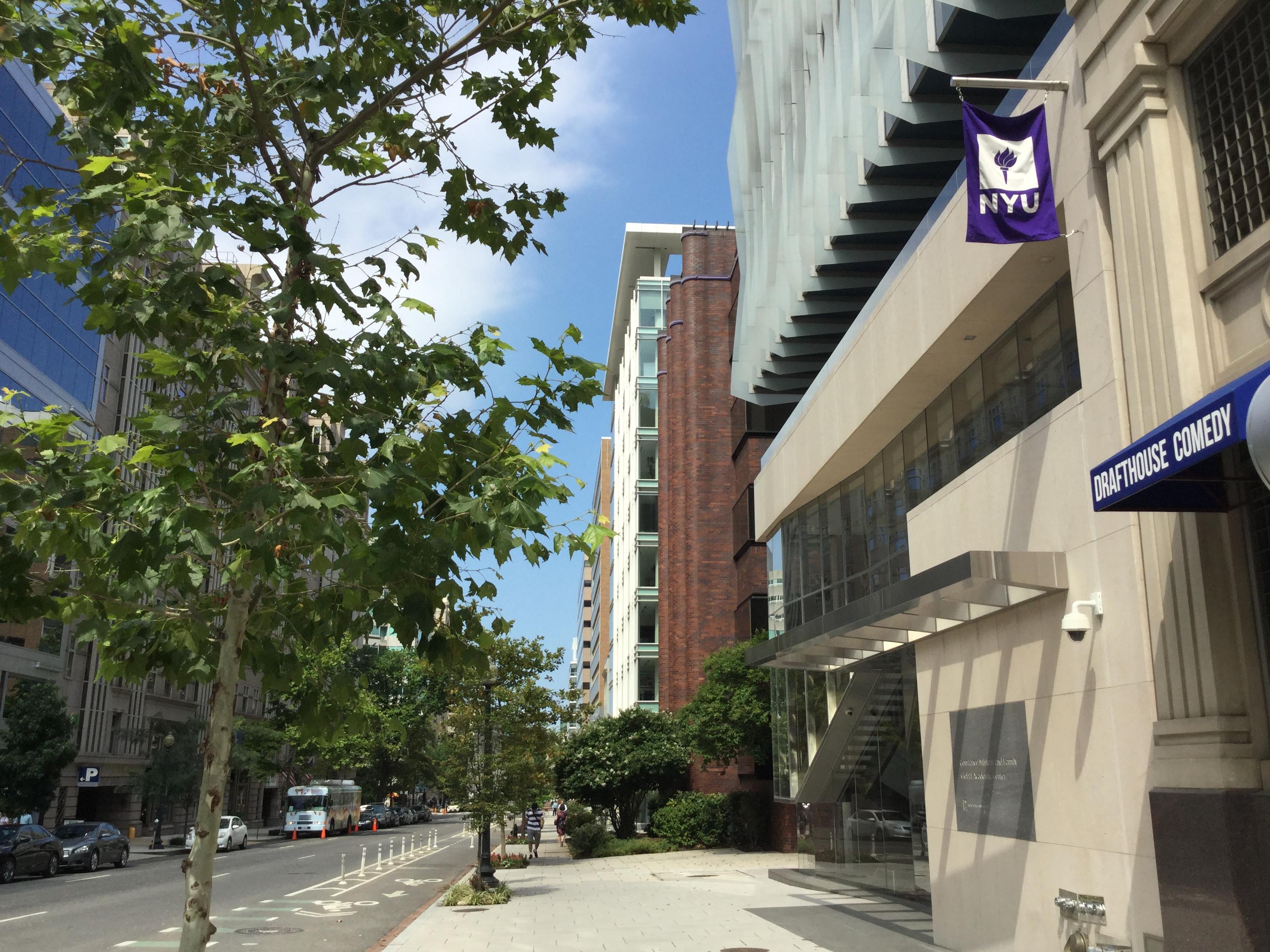NYU DC Building Exterior with Flag