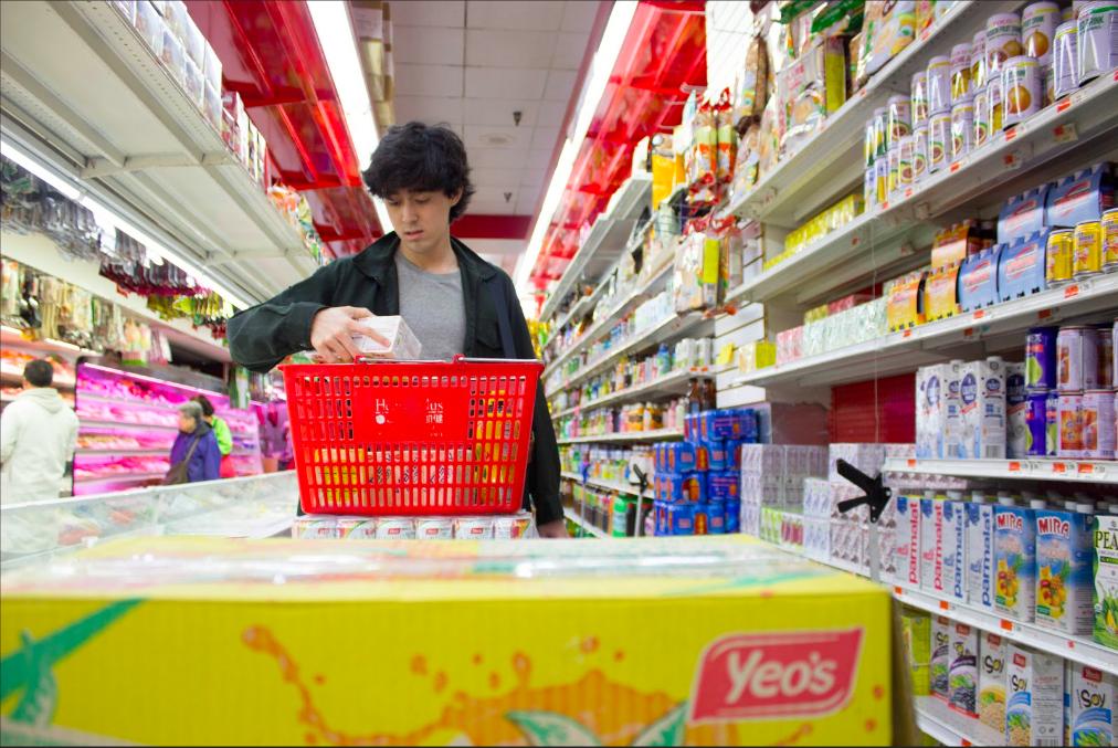 person in supermarket