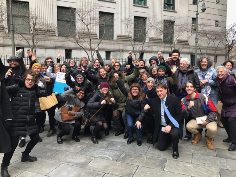 Celebrating the 29 Jan 2018 victory of habeas corpus petition releasing immigrant rights activist Ravi Ragbir from detention that began on 11 Jan 2018. Photo credit: New Sanctuary Coalition
