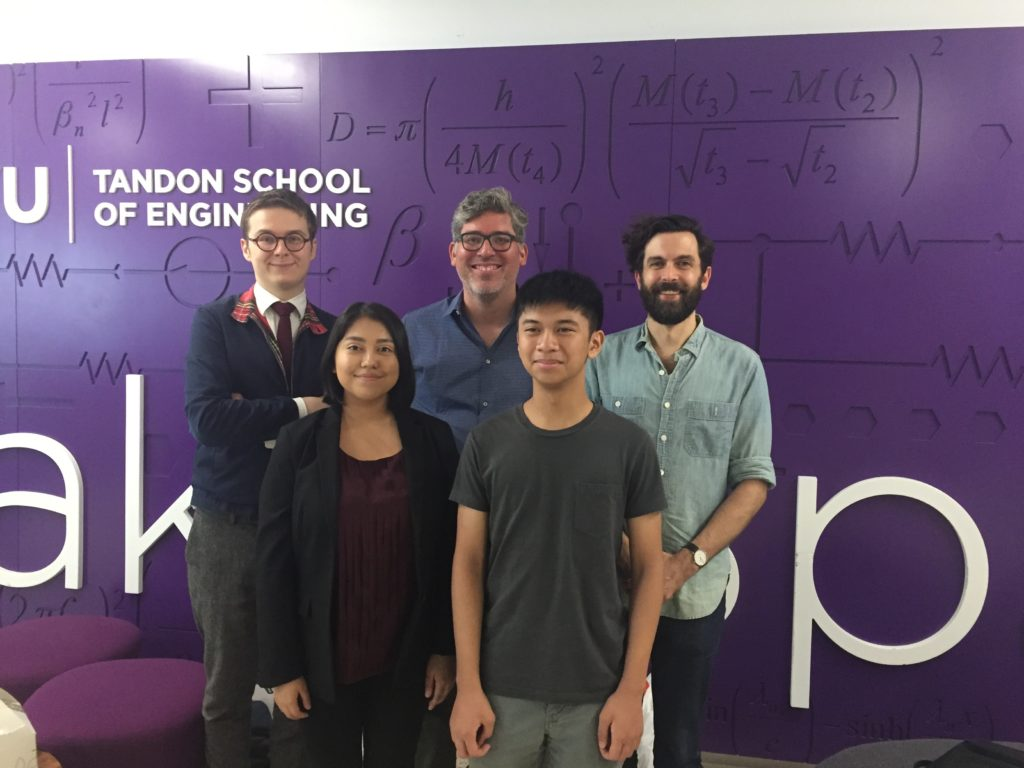 A photo of the ARISE students and mentors: Vincent Lostanlen, Juan Pablo Bello, Mark Cartwright, Elizabeth Mendoza, and Giordan Escalona.