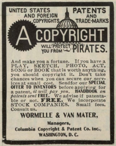 Advertisement for copyright and patent preparation services from 1906. Public domain.