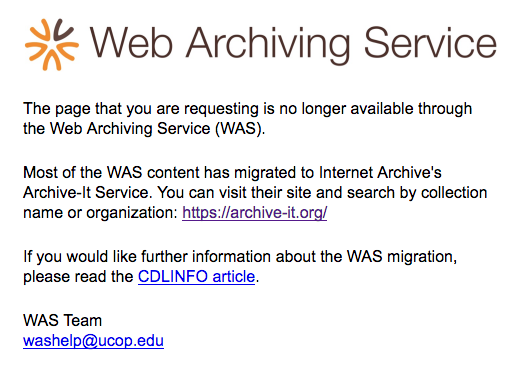 Web archiving error