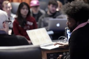13-1127 - NYU - Shots of musical artist Questlove and music producer Harry Weinger's class in the Recorded Music Department