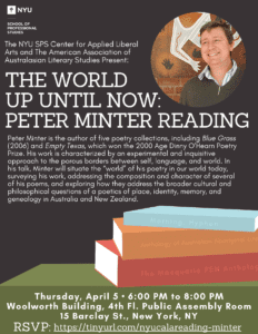 The World Up Until Now: Peter Minter Reading Event