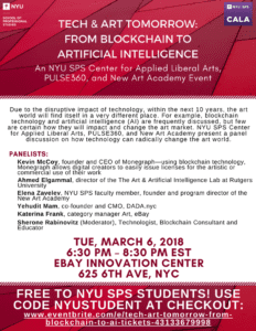 Upcoming Event – Tech & Art Tomorrow: From Blockchain to Artificial Intelligence