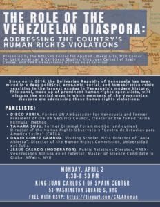 Upcoming Event – The Role of the Venezuelan Diaspora: Addressing the Country's Human Rights Violations